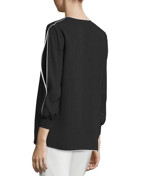 Kelsey Contrast-Trim Blouse, Black, Plus Size