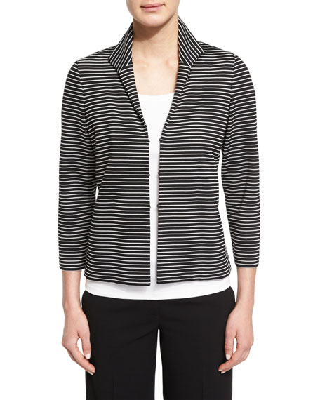 Bellene Striped 3/4-Sleeve Jacket, Black Multi, Plus Size