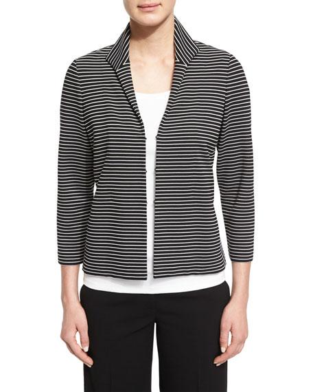 Bellene Striped 3/4-Sleeve Jacket, Black Multi, Plus Size