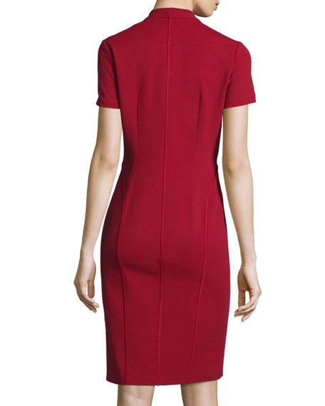 Zip-Front Short-Sleeve Sheath Dress, Plus Size