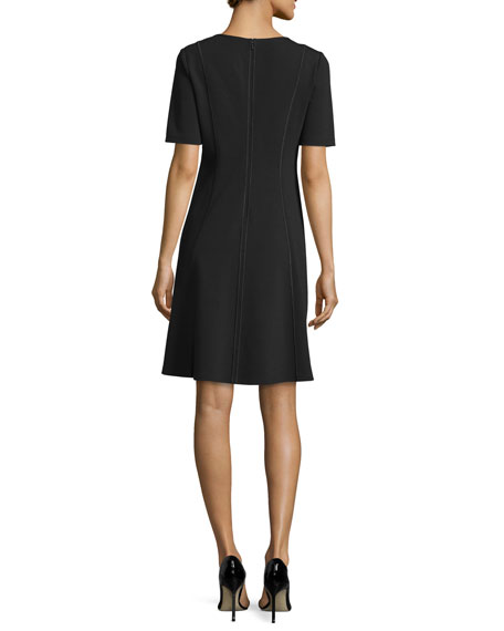 Seamed Short-Sleeve Fit & Flare Dress, Plus Size