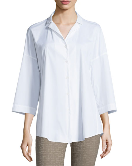 Lafayette 148 New York Analeigh Bracelet-Sleeve Blouse, White,