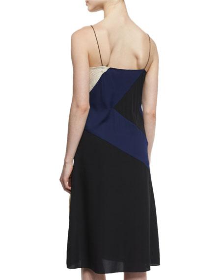 Frederica Colorblock Silk Slip Dress