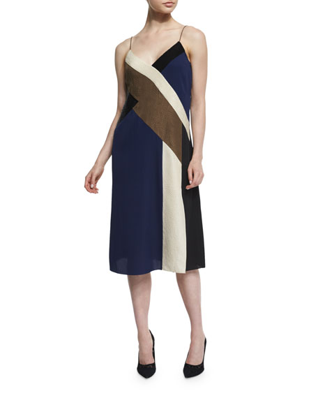 Diane von Furstenberg Frederica Colorblock Silk Slip Dress