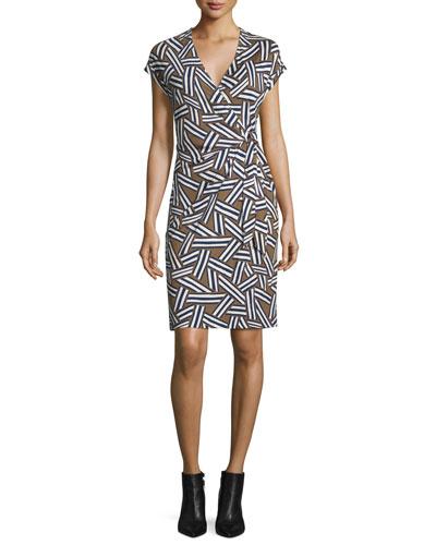 Sascha Ribbon Rectangles Silk Faux-Wrap Dress