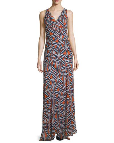 Dita Sleeveless Ribbon Rectangles Silk Gown, Orange