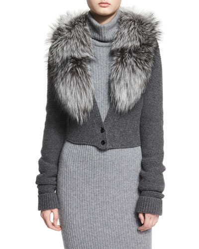 Lory Fox-Fur Collar Cropped Cardigan, Charcoal