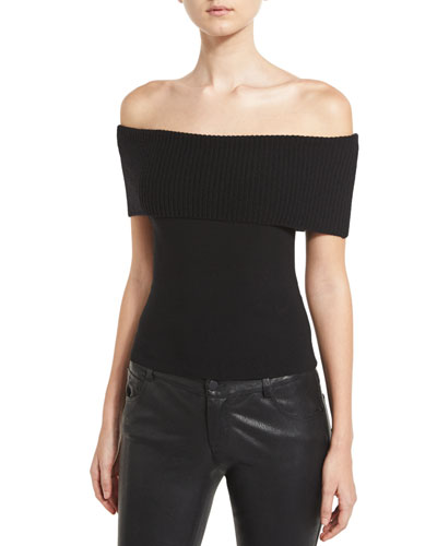 Romi Off-the-Shoulder Fold-Over Sweater, Black