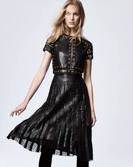 Alice + Olivia Rebecca Studded Leather Top w/Lace Trim