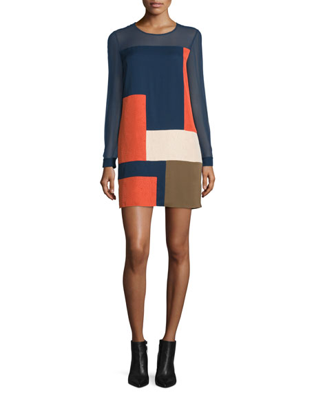 Diane von Furstenberg Raegan Long-Sleeve Silk Colorblock Mini