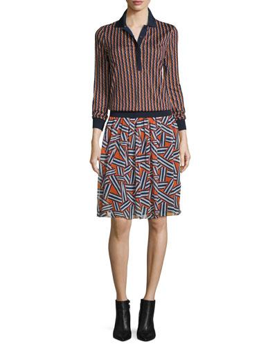 Carinna Ribbon Stripe Silk Top, Rickrack Khaki