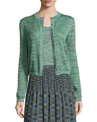 Space-Dyed Lurex? Cropped Cardigan, Olive