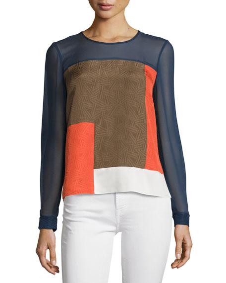 Diane von Furstenberg Reagan Long-Sleeve Silk Colorblock Top,