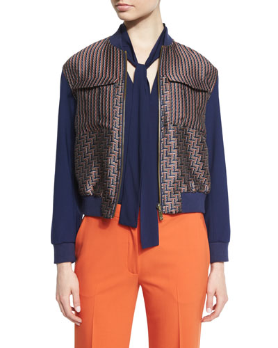 Chase Multipattern Wool-Blend Bomber Jacket, Midnight/Brown