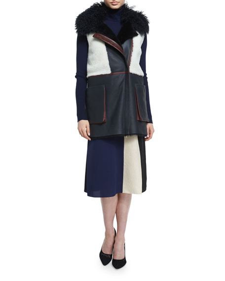Lyle Colorblock Shearling Vest, Navy/White/Bordeaux