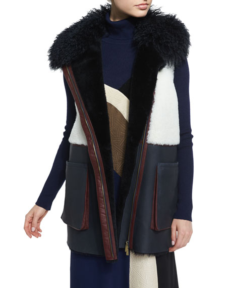 Diane von Furstenberg Lyle Colorblock Shearling Vest,