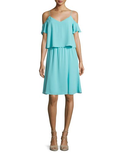 Selin Cold-Shoulder Popover Dress, Seafoam
