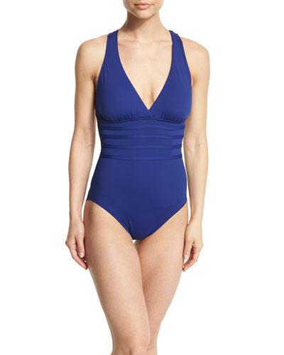 Island Goddess Strap-Center One-Piece Swimsuit