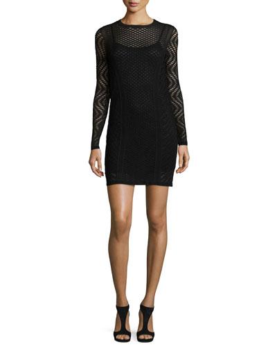 Long-Sleeve Openwork Sheath Dress, Black