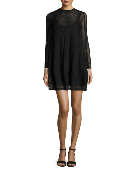 M Missoni Long-Sleeve Jewel-Neck Mini Dress, Black
