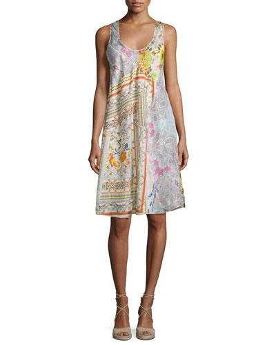 Sleeveless Printed Scoop-Neck Dress, Multi, Plus Size