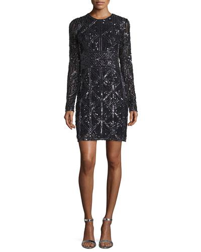 Long-Sleeve Beaded Cocktail Dress, Black