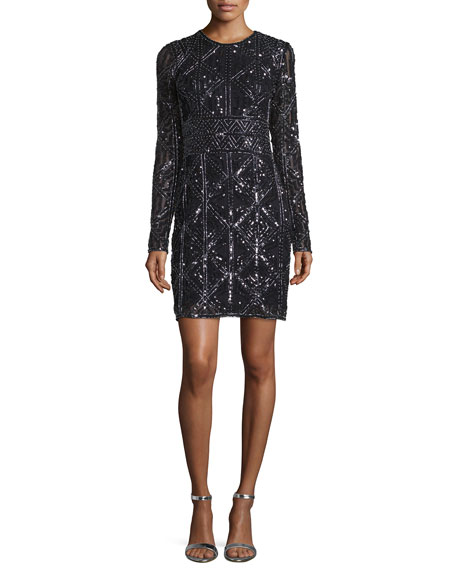 Parker Long-Sleeve Beaded Cocktail Dress, Black