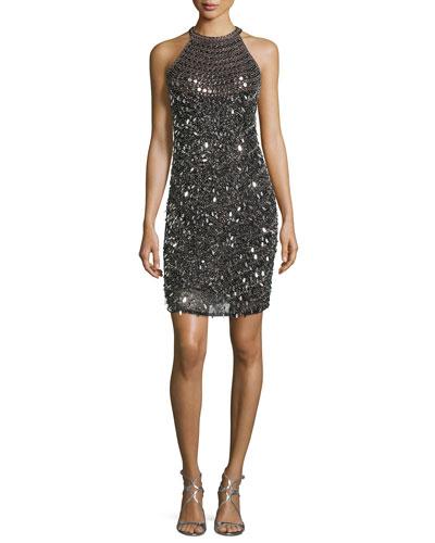 Sleeveless Embellished Cocktail Dress, Black