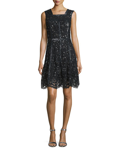 Sleeveless Sequined Lace A-Line Dress, Black
