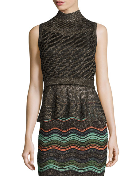 M Missoni Sleeveless Solid Lurex® Openwork Peplum Top,