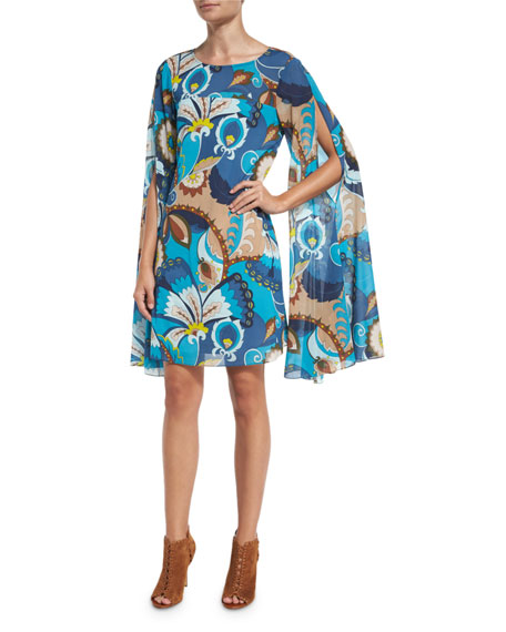 Trina Turk Sleeveless Floral Silk Cape Dress, Peacock