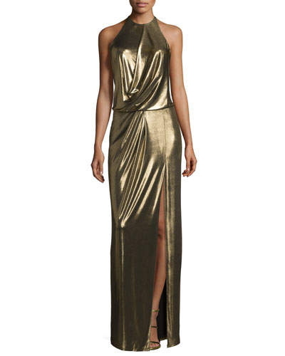 Metallic Halter Column Gown, Bronze