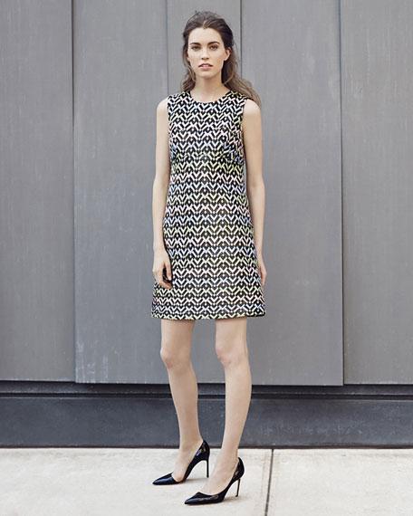 A-Line Chevron Brocade Mini Dress, Multi