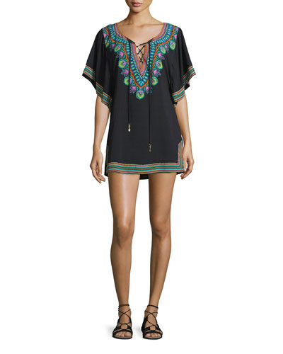 Dashiki Printed Lace-Up Tunic Coverup