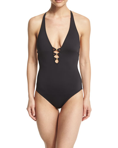 Algiers Plunge-Neck Strappy-Back One-Piece Swimsuit