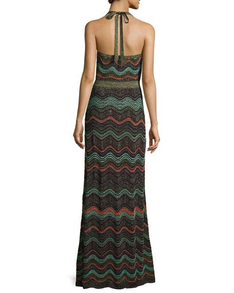 Metallic Wavy Knit Halter Gown, Black