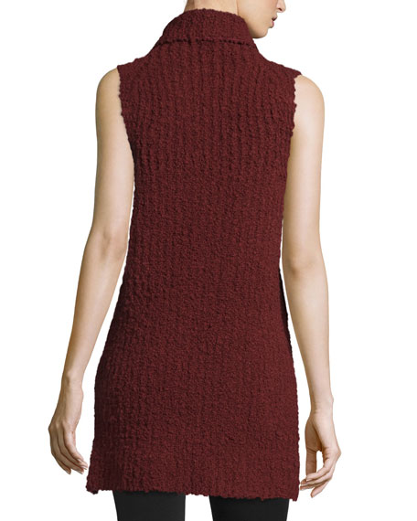 High-Low Boucle Turtleneck Tank, Dark Vermillion