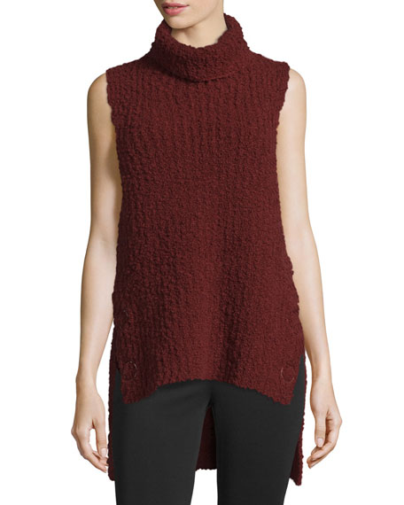 3.1 Phillip Lim High-Low Boucle Turtleneck Tank, Dark