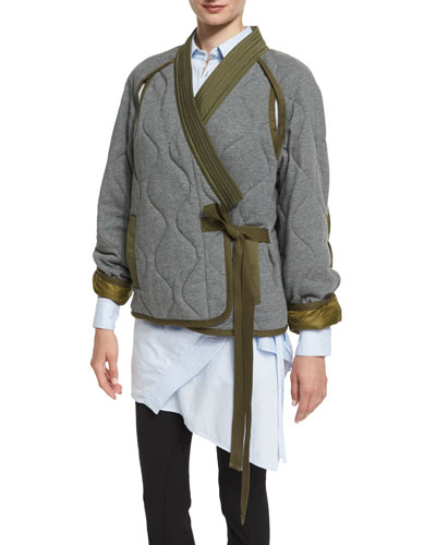 Quilted Utility Kimono Jacket, Gray