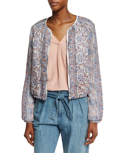 Jodi Floral-Print Silk Bomber Jacket, Vintage Petal