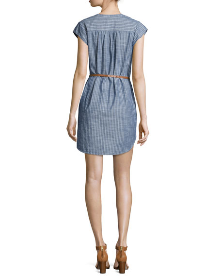 Neha Striped Belted Shirtdress, Sailor Blue