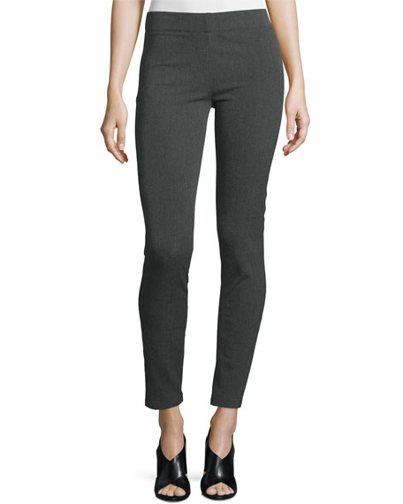 Joseph Herringbone Stretch Leggings, Dark Gray