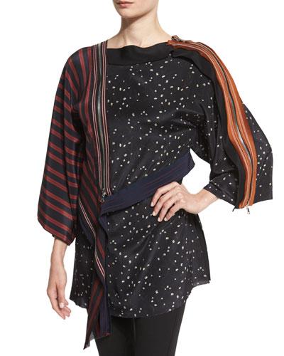 Silk Kimono Combo Top, Black