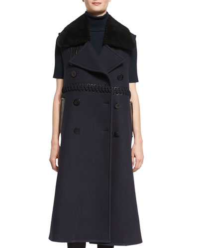 Long Double-Breasted Wool Fur-Trim Vest, Midnight