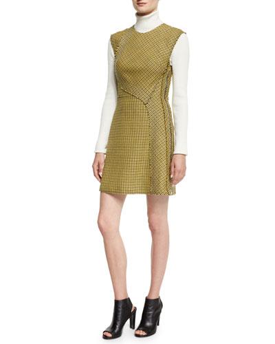 Sleeveless Plaid Trapunto Mini Dress, Yellow