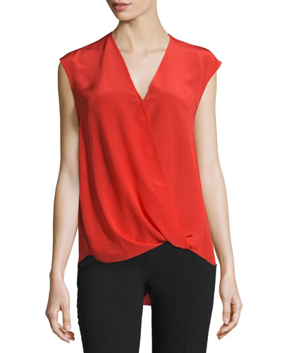 Sleeveless Draped Silk Satin Blouse, Poppy