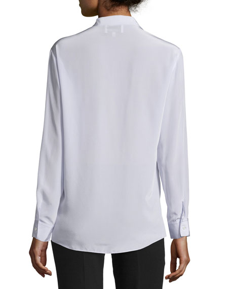 Long-Sleeve Silk Surplice Blouse, Lavender