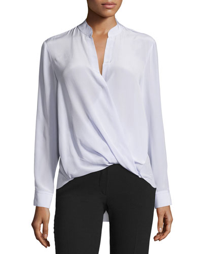 Long-Sleeve Silk Surplice Blouse, Lavender