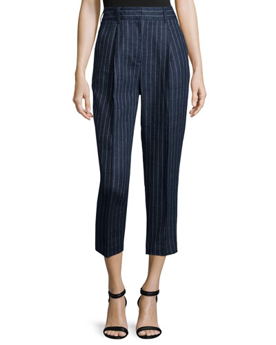 Linen Pinstripe Carrot Pants, Navy