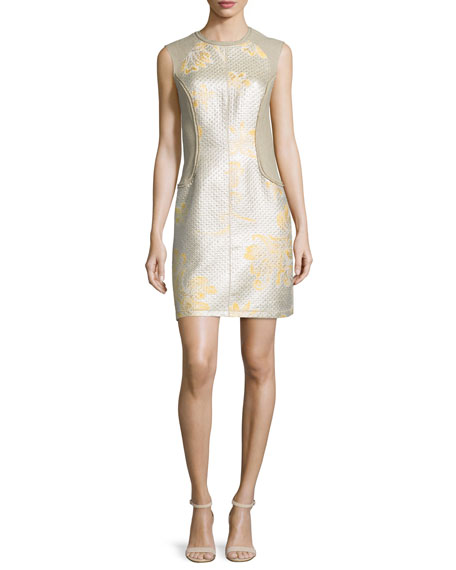 3.1 Phillip Lim Sleeveless Metallic Contour Dress, Sunflower